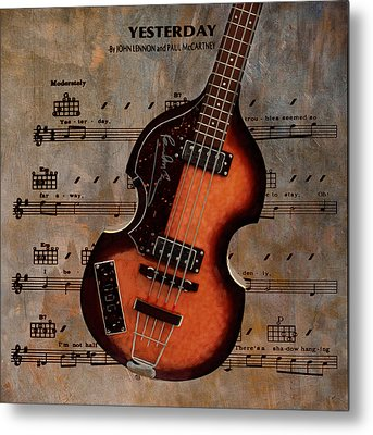 Yesterday - Paul Mccartney Hofner Bass Metal Print by Bill Cannon
