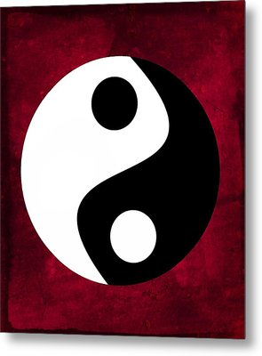 Yin And Yang - Dark Red Metal Print
