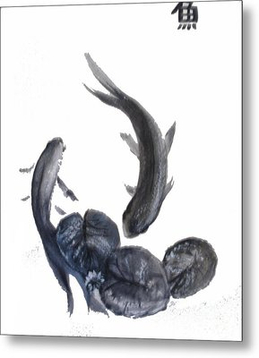 Metal Print featuring the painting Yin And Yang by Sibby S