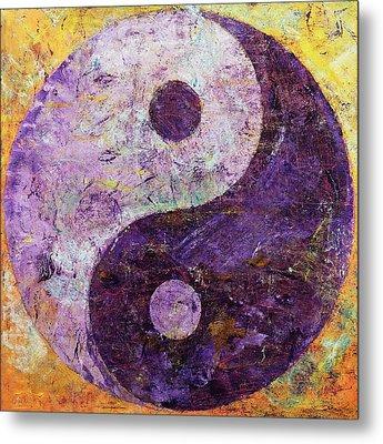 Purple Yin Yang Metal Print by Michael Creese