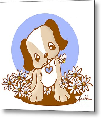 Yittle Puppy Metal Print