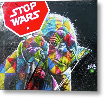 Metal Print featuring the photograph Yoda - Stop Wars by Juergen Weiss