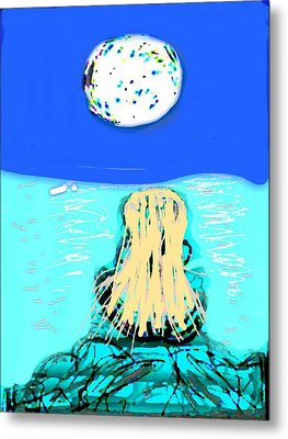 Yoga By The Sea Under The Moon Metal Print