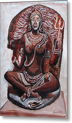 Metal Print featuring the painting Yogini by Anand Swaroop Manchiraju
