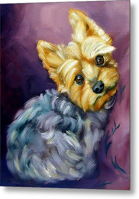 Yorkshire Terrier Yorkie Snuggles Metal Print by Lyn Cook