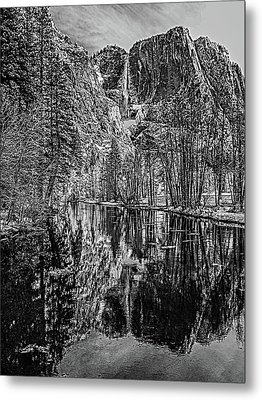 Metal Print featuring the photograph Yosemite Falls From The Swinging Bridge In Black And White by Bill Gallagher