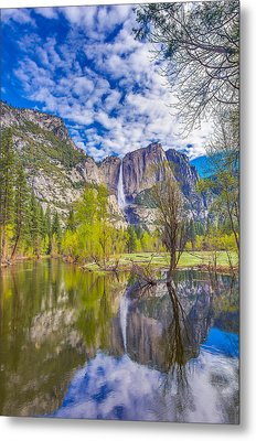 Yosemite Falls In Spring Reflection Metal Print