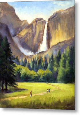 Yosemite Falls Metal Print by Karin  Leonard