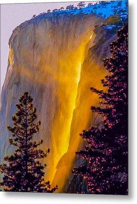 Yosemite Firefall Painting Metal Print