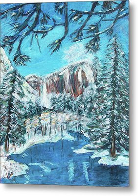 Yosemite In Winter Metal Print by Carolyn Donnell