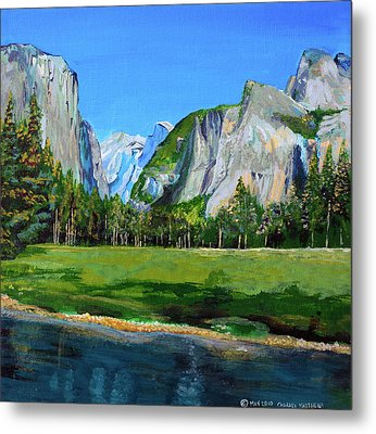Yosemite National Park In The Spring Metal Print by Charles and Stacey Matthews