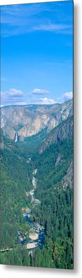 Yosemite Valley And Bridal Veil Falls Metal Print by Panoramic Images