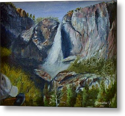 Metal Print featuring the painting Yosemite Waterfall by Quwatha Valentine