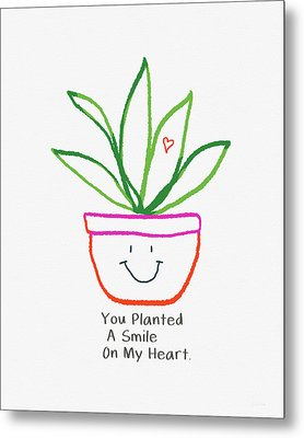 Metal Print featuring the mixed media You Planted A Smile- Art By Linda Woods by Linda Woods