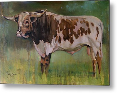 Young Bull Metal Print by Mary Leslie