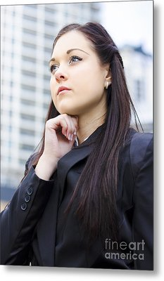 Young Business Woman With Grand Business Ideas Metal Print by Jorgo Photography - Wall Art Gallery