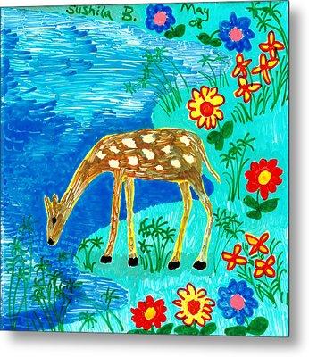 Young Deer Drinking Metal Print by Sushila Burgess