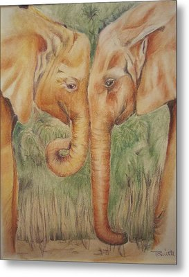 Young Elephants Metal Print