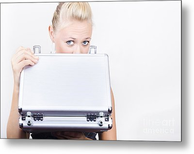 Young Female Accounts Employee Looking In Case Metal Print