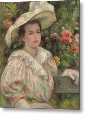 Young Girl Amongst Flowers Or Woman With White Hat Metal Print by Pierre Auguste Renoir