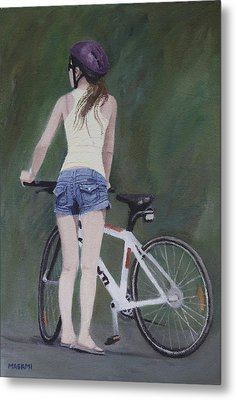 Young Girl And Bicycle Metal Print
