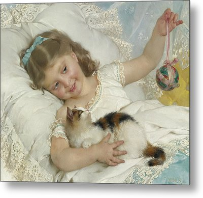 Young Girl And Cat Metal Print by Emile Munier
