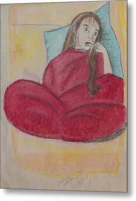 Young Girl In Deep Thought Metal Print