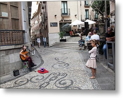 Metal Print featuring the photograph Young Girl Listening To Guitar - Grenada - Spain by Madeline Ellis