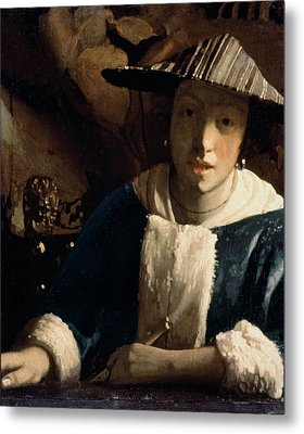 Young Girl With A Flute Metal Print by Jan Vermeer