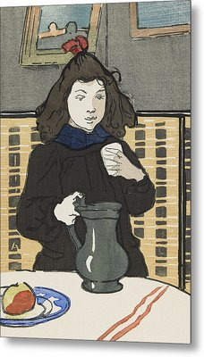 Young Girl With A Pitcher Metal Print by Auguste Lepere
