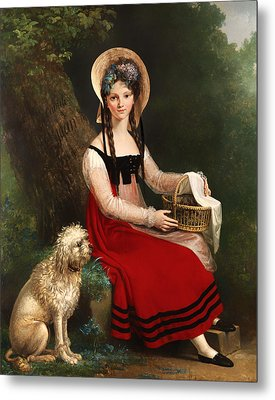 Young Girl With Poodle On A Grassy Bank Metal Print by Mountain Dreams