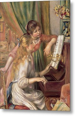 Young Girls At The Piano Metal Print by Pierre Auguste Renoir