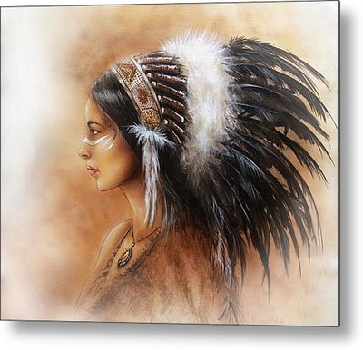 Young Indian Woman Wearing A Big Feather Headdress A Profile Portrait On Structured Abstract Metal Print by Jozef Klopacka