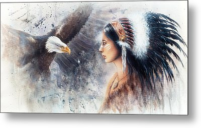 Young Indian Woman Wearing A Gorgeous Feather Headdress. With An Image  Eagle Spirits Metal Print by Jozef Klopacka
