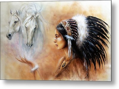 Young Indian Woman Wearing A Gorgeous Feather Headdress With An Image Of Two White Horse Metal Print by Jozef Klopacka