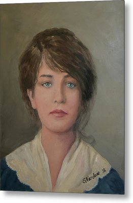 Young Irish Woman On Eliis Island Metal Print by Sandra Nardone