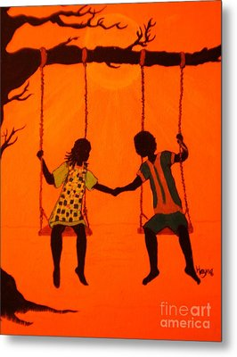 Metal Print featuring the painting Young Love by Barbara Hayes