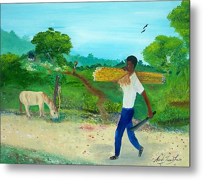 Young Man Carrying Sugarcane Metal Print by Nicole Jean-Louis
