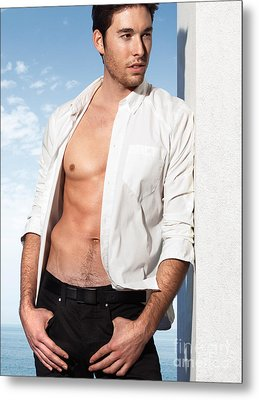 Young Man In Unbuttoned Shirt Metal Print by Oleksiy Maksymenko