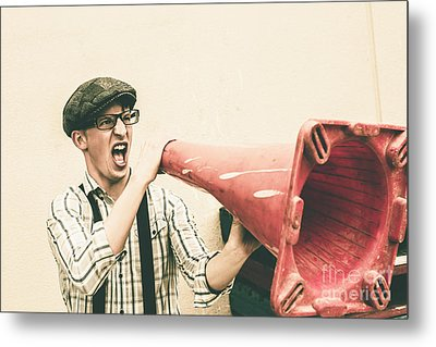 Young Man Shouting With Road Marker Loud Hailer Metal Print by Jorgo Photography - Wall Art Gallery
