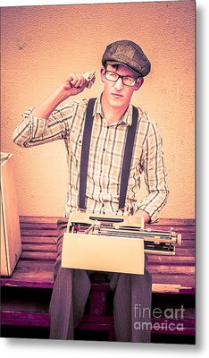 Young Novelist Out Of Ideas Metal Print by Jorgo Photography - Wall Art Gallery