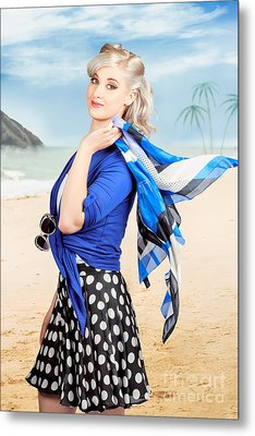 Young Retro Woman On A Tropical Beach Vacation Metal Print by Jorgo Photography - Wall Art Gallery