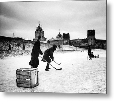 Young Russians Playing Hockey Metal Print