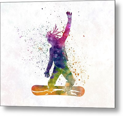 Young Snowboarder Man 01 In Watercolor Metal Print