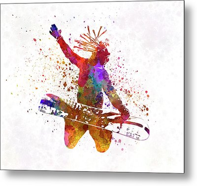 Young Snowboarder Man 02 In Watercolor Metal Print