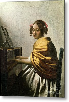 Young Woman At A Virginal Metal Print by Jan Vermeer