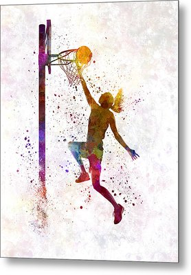 Young Woman Basketball Player 04 In Watercolor Metal Print by Pablo Romero