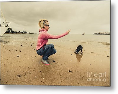 Young Woman Exercising Her Dog At The Beach Metal Print