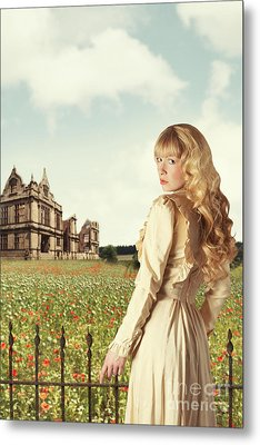 Young Woman In English Countryside Metal Print by Amanda Elwell