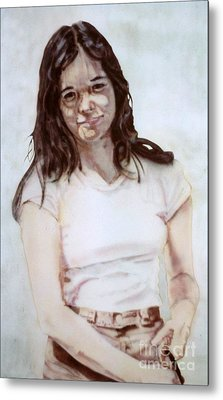 Young Woman Metal Print by Ron Bissett